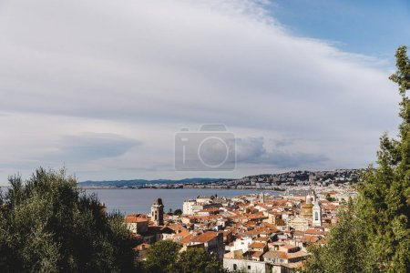 Photo for Aerial view of beautiful european town on sea coast, Nice, France - Royalty Free Image