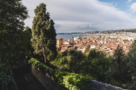 Photo for Small european town on sea coast on cloudy day, Nice, France - Royalty Free Image