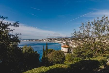 Photo for Small european town on sea coast on sunny day, Nice, France - Royalty Free Image