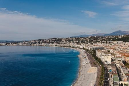 Photo for Aerial view of small european town on sea coast, Nice, France - Royalty Free Image