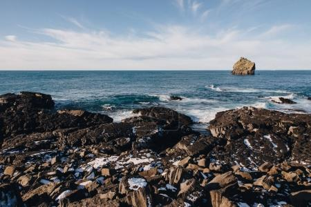 Photo for Majestic view of icelandic seashore with rocks and snow, reykjanes, valahnukamol, iceland - Royalty Free Image