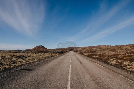 Photo for Empty asphalt road in majestic icelandic landscape at sunny day, reykjanes, iceland - Royalty Free Image