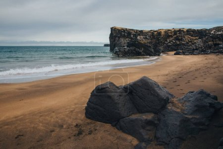 Photo for Scenic view of rocks on seashore in iceland, skardsvik beach - Royalty Free Image