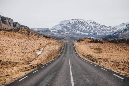 Photo for Empty asphalt road and beautiful landscape in iceland, hvalfjardarvegur - Royalty Free Image
