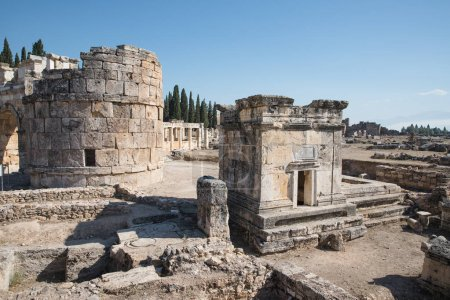 Photo for Ruins of majestic ancient architecture in famous hierapolis, turkey - Royalty Free Image