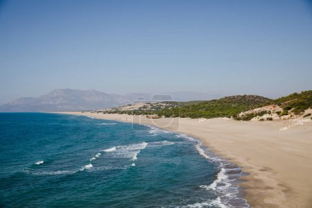 Photo for Beautiful sandy beach and turquoise sea at sunny day patara beach, turkey - Royalty Free Image