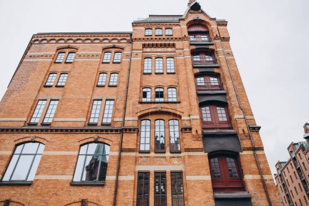low angle view of historical building in hamburg city, germany