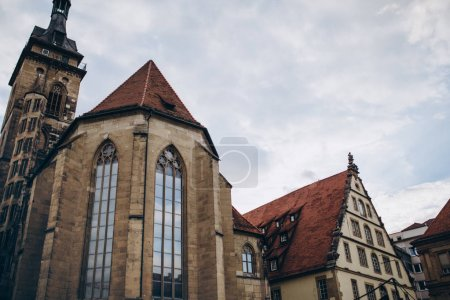 Photo for Low angle view of historical buildings and cloudy sky in stuttgart city, germany - Royalty Free Image