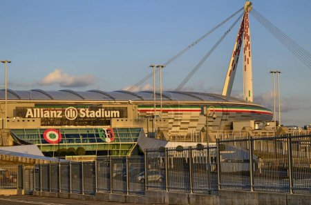 Turin, Italy, Piedmont - March 8 2018 at 18:15 towards sunset. The Allianz Stadium in Turin, former Juventus stadium, main entrance side with the typical white writing in evidence