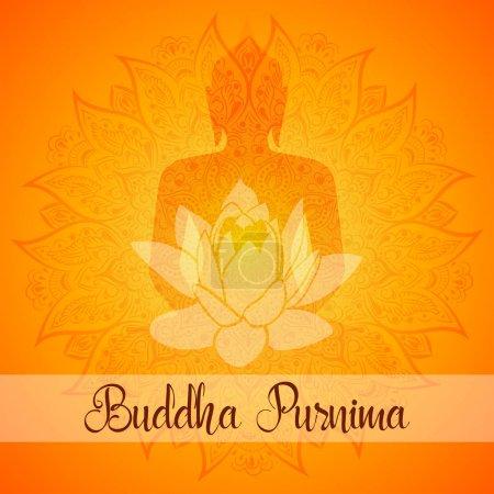 Buddha Purnima Vector illustration greeting card. Mandala, lotus flower with buddhas silhouette.