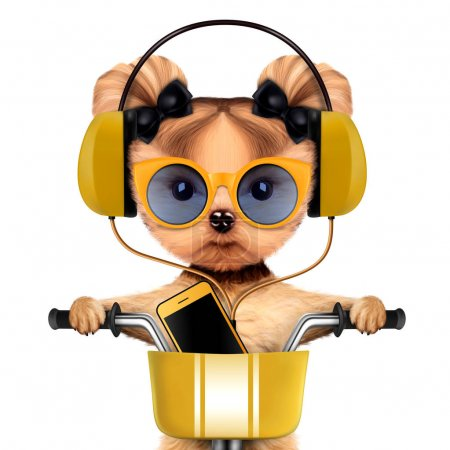 Photo for Funny puppy sitting on a bike and wearing headphones, isolated on white. Delivery concept. Realistic 3D illustration of yorkshire terrier - Royalty Free Image