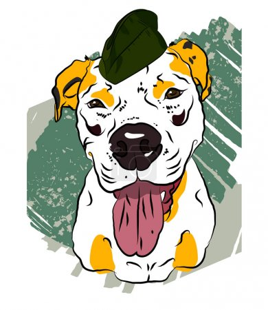 Dog in a cap. Comic poster for February 23.