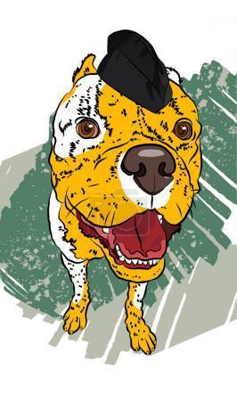 Dog soldier. Hand drawn vector fun portrait.