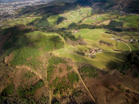 Photo for Aerial view of majestic landscape with green hills and trees, Germany - Royalty Free Image