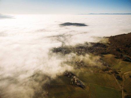 Photo pour Vue aérienne de beaux arbres verts et champs dans le brouillard, Allemagne - image libre de droit