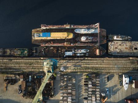 Photo for Aerial view of various ships in industrial harbour - Royalty Free Image