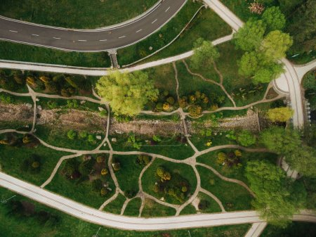 Photo for Aerial view of beautiful green park and road - Royalty Free Image