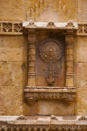 Carving details on eastern gate of Champaner Fort, located in UNESCO protected Champaner - Pavagadh Archaeological Park