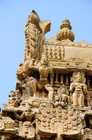 Photo for Details of carved Gopuram of Airavatesvara Temple, Darasuram, near Kumbakonam. Hindu Shiva temple of Tamil architecture, built by Rajaraja Chola II in the 12th century CE. UNESCO World Heritage Site. - Royalty Free Image