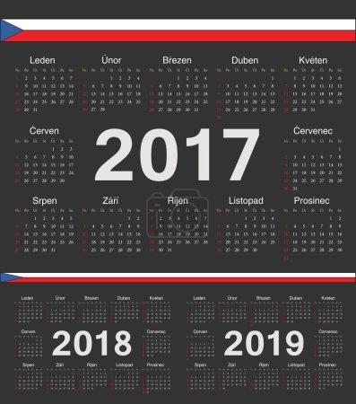 Vector black Czech circle calendars 2017, 2018, 2019