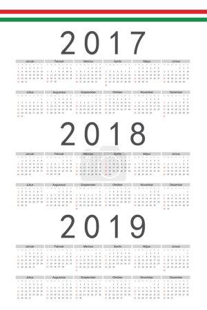 Set of rectangle Hungarian 2017, 2018, 2019 year vector calendar