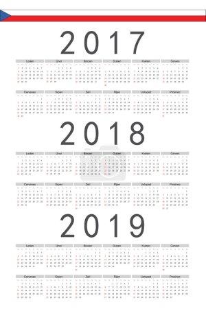 Set of black rectangle Czech 2017, 2018, 2019 year vector calend