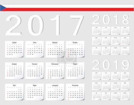 Set of Czech 2017, 2018, 2019 vector calendars