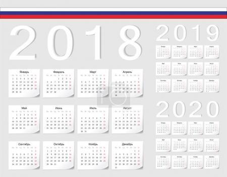 Set of Russian 2018, 2019, 2020 vector calendars