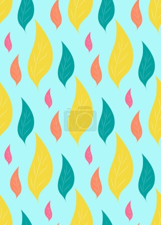 Illustration for Seamless pattern of colorful abstract leaves on blue background. Template of fabric textile, print for clothes, bag, t-shirt, wrapping, wallpaper. Backdrop for cover, box, package. Vector illustration - Royalty Free Image