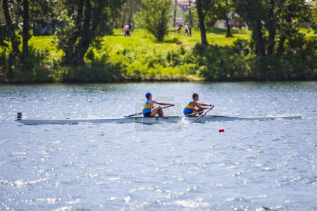 Athletes on a rowing competition