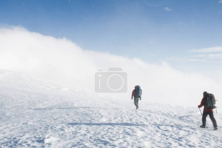 Photo pour Randonneurs à pied sur les montagnes enneigées en hiver par temps nuageux, Carpates, Ukraine - image libre de droit