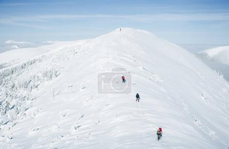 Photo for Scenic view of winter Carpathian Gorgany mountains and determined climbers - Royalty Free Image