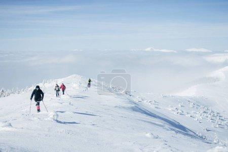 Photo pour Voyageurs à pied dans les montagnes de Gorgany dans la neige profonde - image libre de droit