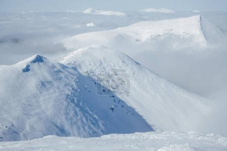 Photo pour Hautes montagnes de Gorgany pendant le blizzard hivernal - image libre de droit