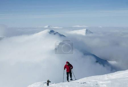 Photo for People climbing the peak in Gorgany mountains - Royalty Free Image