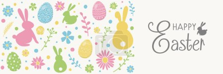 Colourful Easter greeting card with decorative eggs, bunnies and flowers. Banner. Vector