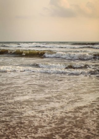 Photo for Detail on sea waves in evening light, just after sunset. - Royalty Free Image
