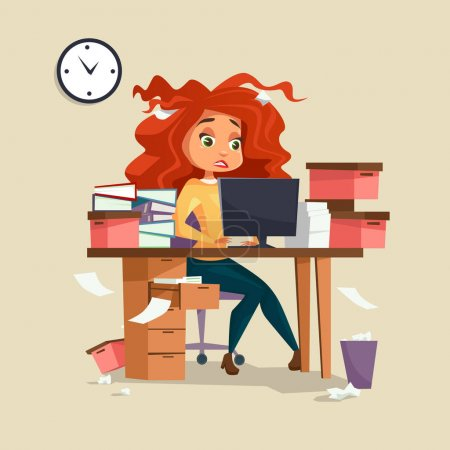 Illustration for Woman in office stress vector illustration of cartoon girl manager working on computer with disheveled messy hair and documents piles. Overwork and deadline office work concept - Royalty Free Image