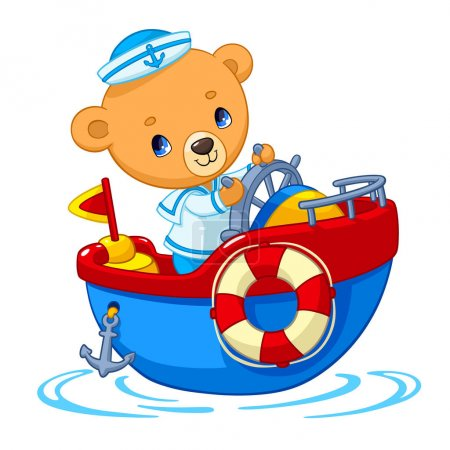 Bear sailor on boat cartoon vector illustration