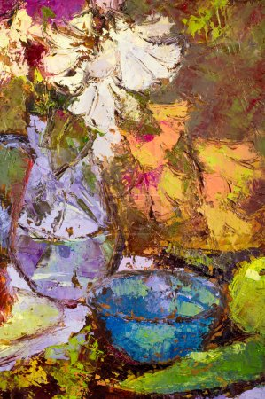 Photo for The picture painted with oil paints, abstract drawing, a bouquet of flowers in a vase. Oil painting of spring flowers in a vase on canvas - Royalty Free Image