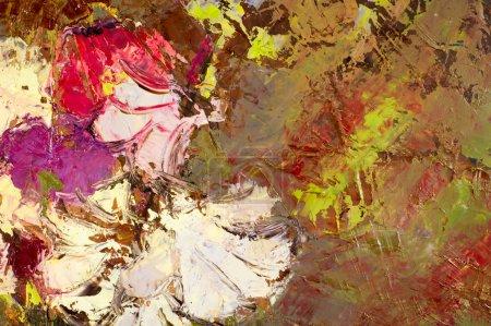 Photo pour Le tableau peint avec des peintures à l'huile, dessin abstrait. Technique mixte, Expression Peinture abstraite. gros plan de différentes couleurs peinture à l'huile - image libre de droit