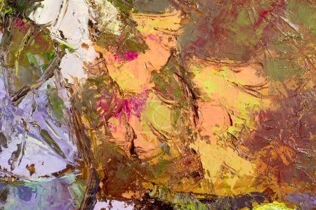 Photo for The picture painted with oil paints, abstract drawing. Mixed technics, Expression Abstract painting. close up of different color oil paint - Royalty Free Image
