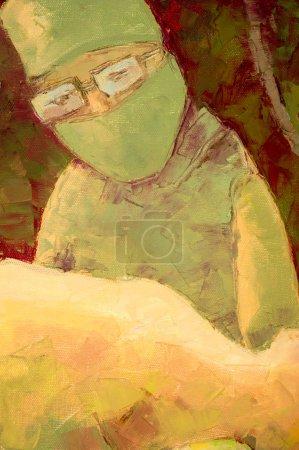 Photo pour Le tableau peint avec des peintures à l'huile. l'aube froide. sur la table d'opération, les chirurgiens opèrent extraterrestre. appartenant à un pays ou à une nation étrangère . - image libre de droit