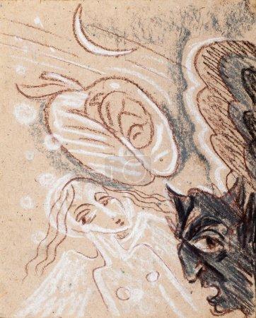 Photo pour Une photo dessinée avec des crayons. Angel et Devil. Tentation Ange diable. La tentation de la fille du diable - image libre de droit
