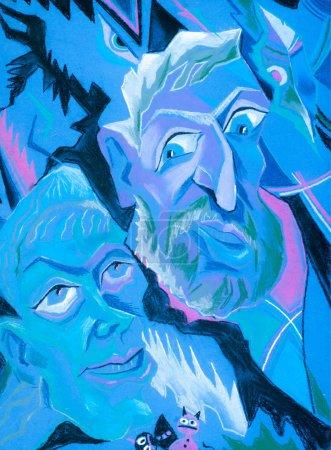 Photo pour Dessiner des crayons de cire colorés. Les deux hommes ont engagé un dialogue. Un homme ment à un autre. - image libre de droit