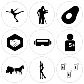 Set Of 9 simple editable icons such as telecom stripper horse and carriage number of players vr headset folded hands avocado cameraman figure skater can be used for mobile web UI