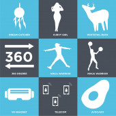 Set Of 9 simple editable icons such as avocado telecom vr headset ninja warrior ninja warrior 360 degree whitetail buck curvy girl dream catcher can be used for mobile web UI