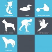 Set Of 9 simple editable icons such as howling wolf flying pheasant wrestling