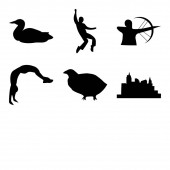 Set Of 9 simple editable icons such as las vegas strip quail cleveland sky