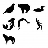 Set Of 9 simple editable icons such as howling wolf elvis backflip